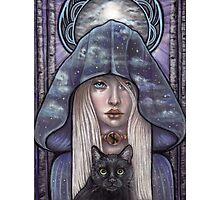 Nauthiz Rune Maiden black cat sorceress Photographic Print