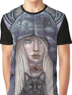 Nauthiz Rune Maiden black cat sorceress Graphic T-Shirt