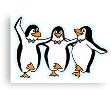 Penguin, Party, Dancing, Cartoon Canvas Print