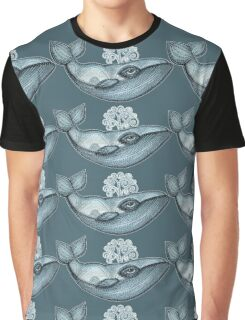 whale tribal pattern hand draw blue Graphic T-Shirt