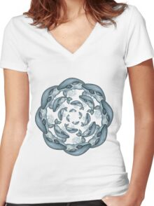 whale circle tribal pattern hand draw Women's Fitted V-Neck T-Shirt