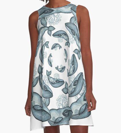 whale circle tribal pattern hand draw A-Line Dress