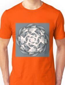 whale circle blue tribal pattern hand draw Unisex T-Shirt