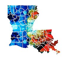Louisiana Map - State Maps By Sharon Cummings Photographic Print