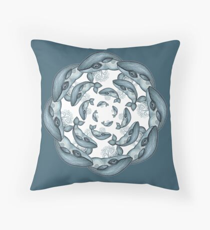 whale circle tribal pattern hand draw Throw Pillow