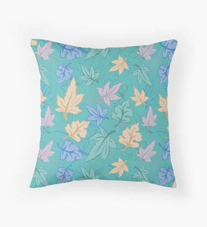 Green Turquoise Pastel Fall Pattern Throw Pillow