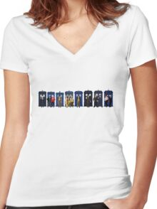 Doctor & Tardis Lineup Women's Fitted V-Neck T-Shirt