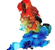 England - Map Of England By Sharon Cummings by Sharon Cummings