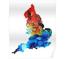England - Map Of England By Sharon Cummings Poster