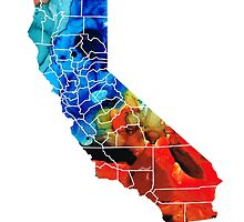 California - Map Counties By Sharon Cummings by Sharon Cummings