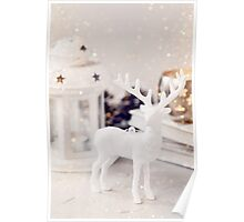 White deer Christmas decoration Poster