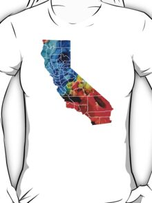 California - Map Counties By Sharon Cummings T-Shirt