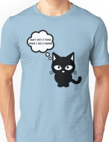 black cat kitty superstition animal pet cute for girls girly Unisex T-Shirt