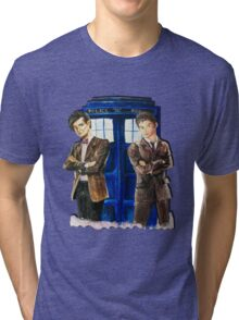 Doctor Who - Ten, Eleven and the Tardis Tri-blend T-Shirt