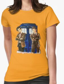 Doctor Who - Ten, Eleven and the Tardis Womens Fitted T-Shirt