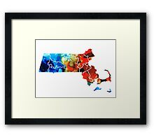 Massachusetts - Map Counties By Sharon Cummings Framed Print