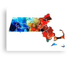 Massachusetts - Map Counties By Sharon Cummings Canvas Print