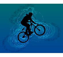 Digitally enhanced image of a bicycle stunt  Photographic Print