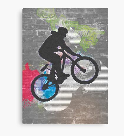 wall graffiti image of a bicycle stunt  Canvas Print