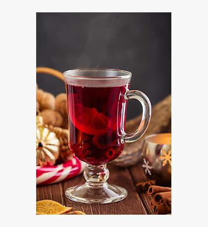 Glass of mulled wine with spices Photographic Print