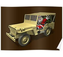 Santa Claus In Willys Jeep Poster