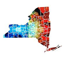 New York - Map By Sharon Cummings Photographic Print