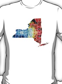 New York - Map By Sharon Cummings T-Shirt