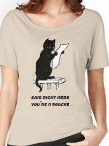black cat reading kitty illustration animal pet cute for girls girly Women's Relaxed Fit T-Shirt