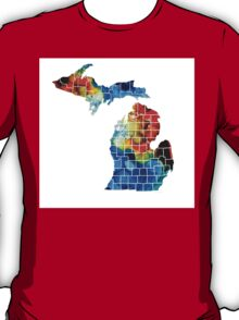 Michigan State Map - Counties By Sharon Cummings T-Shirt