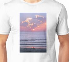 Sunset over the ocean watched by a bird on the beach Unisex T-Shirt