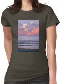 Sunset over the ocean watched by a bird on the beach Womens Fitted T-Shirt