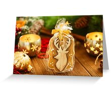 Christmas gingerbread cookie with deer Greeting Card