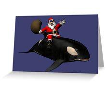Santa Claus Riding An Orca Greeting Card