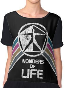 Wonders of Life Logo in Vintage Distressed Style Women's Chiffon Top