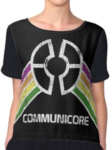 Communicore Logo in Vintage Distressed Style Chiffon Top