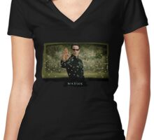 Matrix Attitude Stopping Bullets - Keanu Reeves Women's Fitted V-Neck T-Shirt