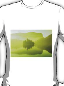 Church in mist on Lake Bled Slovenia T-Shirt