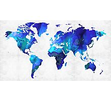 World Map 17 - Blue Art By Sharon Cummings Photographic Print