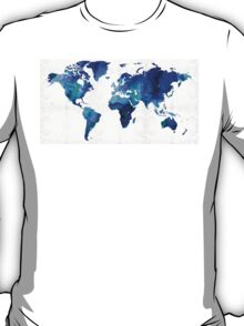 World Map 17 - Blue Art By Sharon Cummings T-Shirt