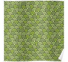 Simple doodle green pattern. Abstract grass seamless background.  Poster