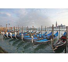 Gondolals in front of San Giorgio Maggiore Venice Italy Photographic Print
