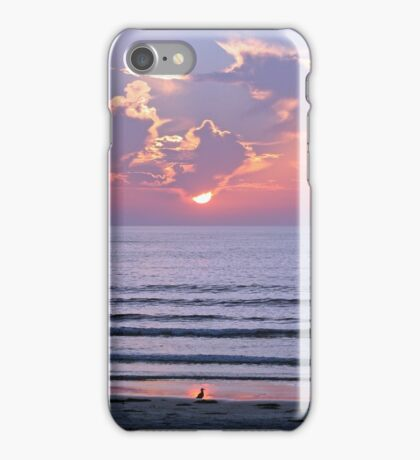 Sunset over the ocean watched by a bird on the beach iPhone Case/Skin