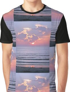 Sunset over the ocean watched by a bird on the beach Graphic T-Shirt