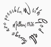 Matthew 19:26 Bible Quote Love Heart One Piece - Short Sleeve