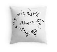 Matthew 19:26 Bible Quote Love Heart Throw Pillow