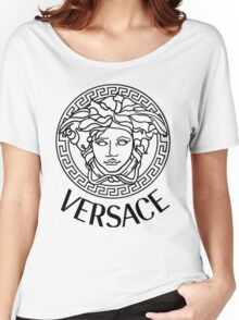 versace black logo Women's Relaxed Fit T-Shirt