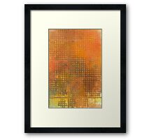 Watercolor Abstraction: Orange Grid Texture Framed Print