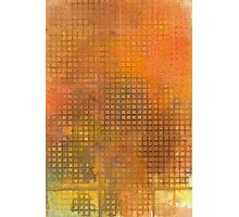Watercolor Abstraction: Orange Grid Texture Photographic Print