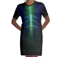 Digitally enhanced image of a High voltage power lines and pylon  Graphic T-Shirt Dress