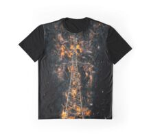 Digitally enhanced image of a High voltage power lines and pylon  Graphic T-Shirt